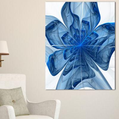 Designart Blue Fractal Flower With Large Petals Floral Canvas Art Print