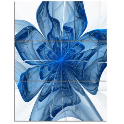 Designart Blue Fractal Flower With Large Petals Floral Triptych Canvas Art Print