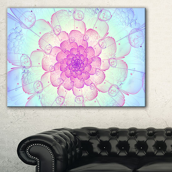 Designart Blue Fractal Flower With Soft Petals Floral Canvas Art Print