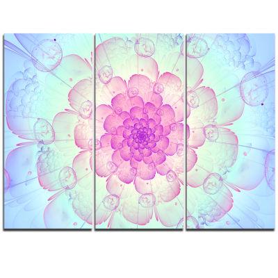 Designart Blue Fractal Flower With Soft Petals Floral Triptych Canvas Art Print