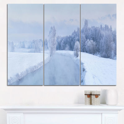 Designart Blue Frosty Winter Weather Panorama Landscape Print Wall Artwork