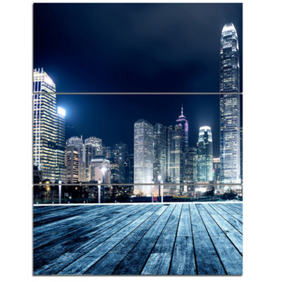 Designart Blue Hong Kong City Skyline Cityscape Triptych Canvas Print