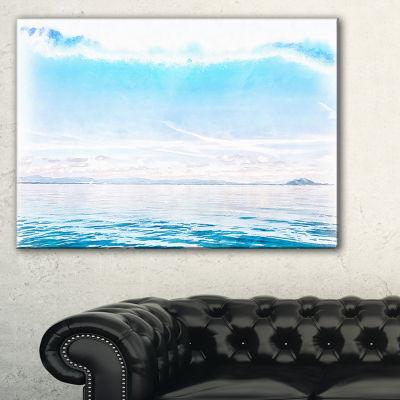 Designart Blue Horizon Digital Watercolor Large Seascape Art Canvas Print