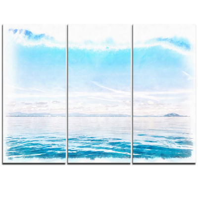 Designart Blue Horizon Digital Watercolor Large Seascape Art Triptych Canvas Print
