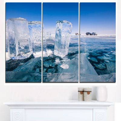Designart Blue Ice And Off Road Cars Landscape Artwork Triptych Canvas