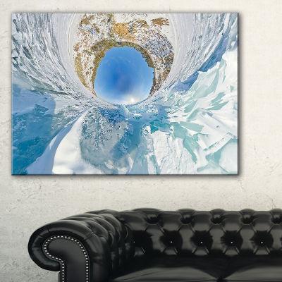 Designart Blue Ice Hummocks Baikal Little PlanetLandscape Artwork Canvas