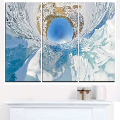 Designart Blue Ice Hummocks Baikal Little PlanetLandscape Artwork Triptych Canvas