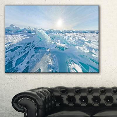 Designart Blue Ice Hummocks Baikal Panorama Landscape Artwork Canvas