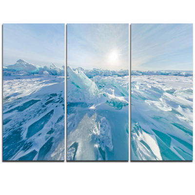 Design Art Blue Ice Hummocks Baikal Panorama Landscape Artwork Triptych Canvas