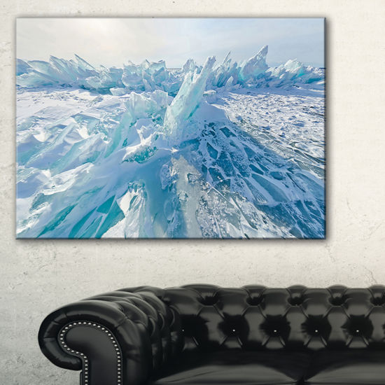 Designart Blue Ice Hummocks In Siberia Lake BaikalLandscape Artwork Canvas