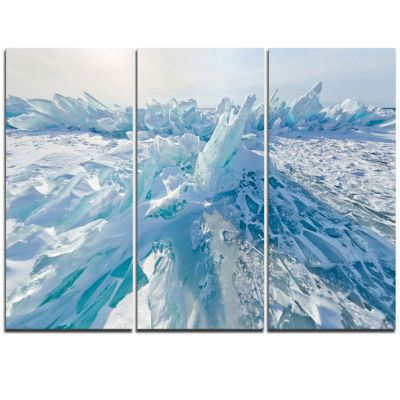 Designart Blue Ice Hummocks In Siberia Lake BaikalLandscape Artwork Triptych Canvas