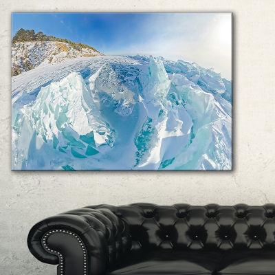 Designart Blue Ice Mountains In Lake Baikal Siberia Landscape Artwork Canvas