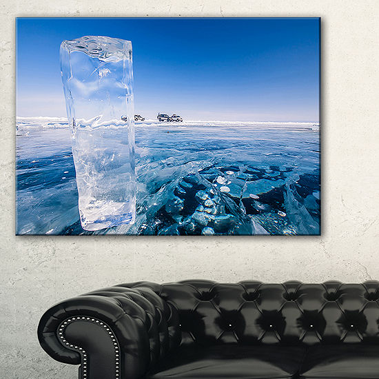 Designart Blue Ice Under Bright Sky Landscape Artwork Canvas