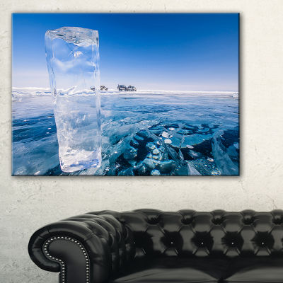 Designart Blue Ice Under Bright Sky Landscape Artwork Canvas