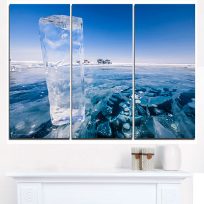 Designart Blue Ice Under Bright Sky Landscape Artwork Triptych Canvas