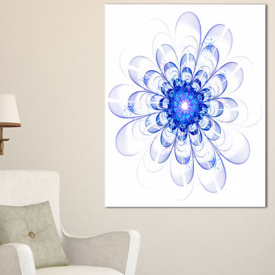 Designart Blue Ideal Fractal Flower Design FloralCanvas Art Print