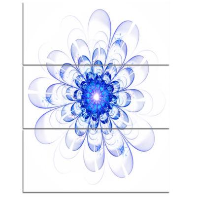 Designart Blue Ideal Fractal Flower Design FloralTriptych Canvas Art Print