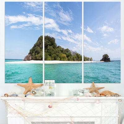 Designart Blue Koh Khai Island Panorama Large Seascape Art Triptych Canvas Print