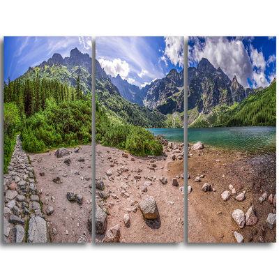Designart Blue Lake Amid Mountains Panorama Landscape Triptych Canvas Art Print