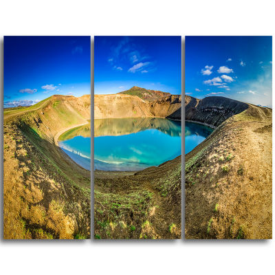 Designart Blue Lake In The Crater Of Volcano Landscape Print Wall Artwork