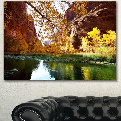 Designart Blue Lake In Yosemite Mountains Landscape Canvas Art Print - 3 Panels