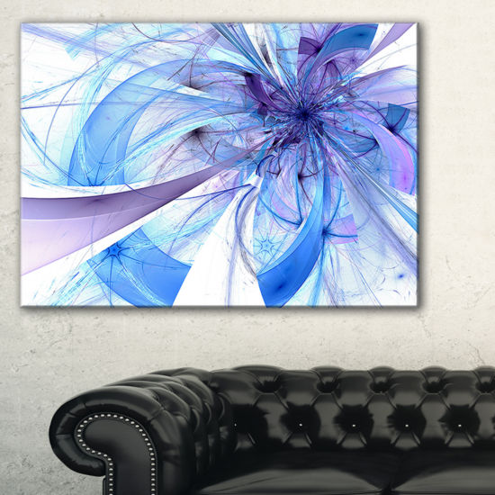 Designart Blue Large Fractal Flower Pattern FloralCanvas Art Print