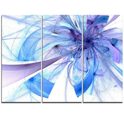 Designart Blue Large Fractal Flower Pattern FloralTriptych Canvas Art Print
