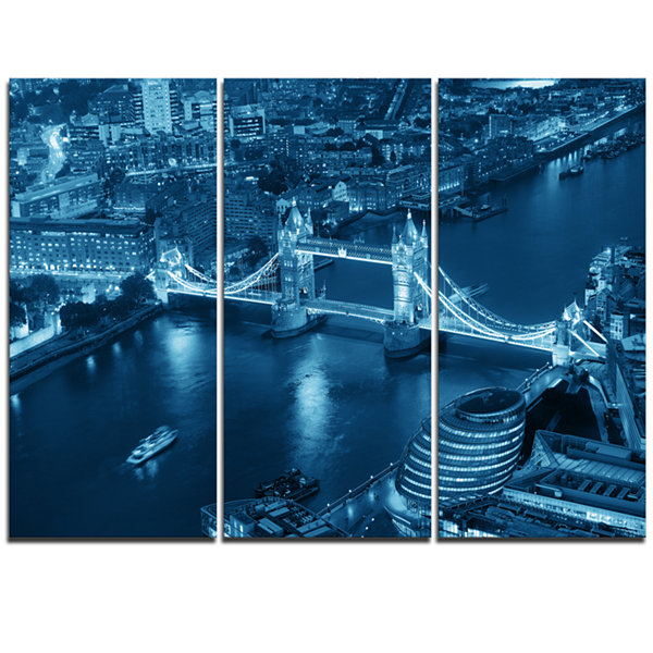 Designart Blue London Night Aerial View CityscapeTriptych Canvas Print
