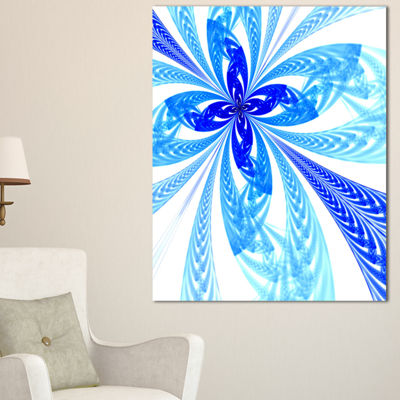 Designart Blue Long Petal Fractal Flower Floral Art Canvas Print