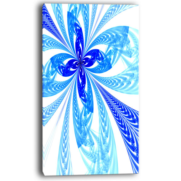 Design Art Blue Long Petal Fractal Flower Floral Art Canvas Print
