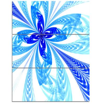 Designart Blue Long Petal Fractal Flower Floral Art Triptych Canvas Print