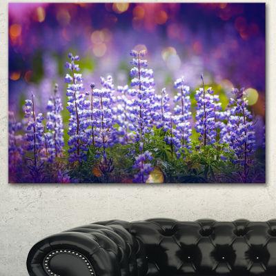 Designart Blue Lupin Flowers On Blue Background Large Flower Canvas Art Print - 3 Panels
