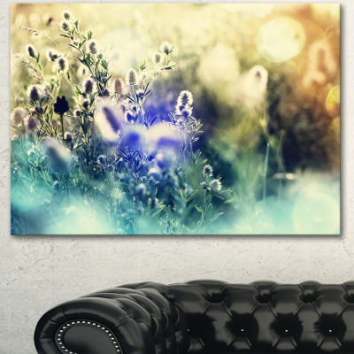 Design Art Blue Mountain Meadow Flowers Floral Canvas Art Print - 3 Panels