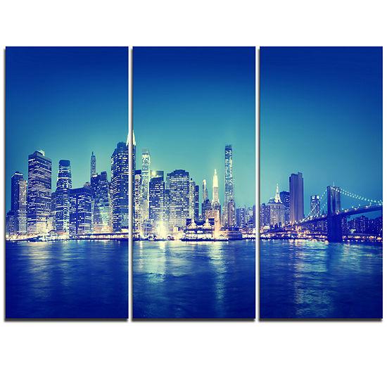 Designart Blue New York City At Night Panorama Cityscape Triptych Canvas Print