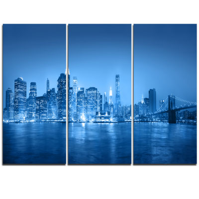 Designart Blue Panorama Of New York City CityscapeTriptych Canvas Print