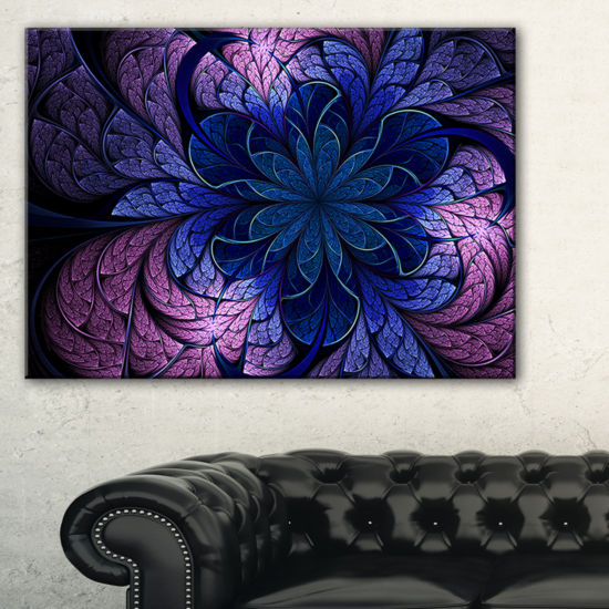 Designart Blue Purple Digital Art Fractal FlowerFloral Canvas Art Print