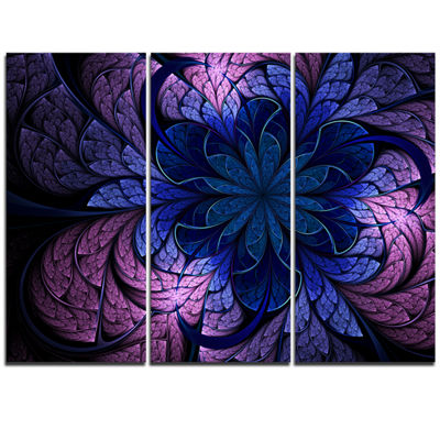 Designart Blue Purple Digital Art Fractal FlowerFloral Triptych Canvas Art Print