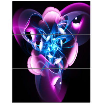 Designart Blue Purple Large Fractal Flower DesignAbstract Art On Triptych Canvas