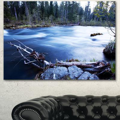 Designart Blue River In Forest At Evening Oversized Landscape Canvas Art - 3 Panels