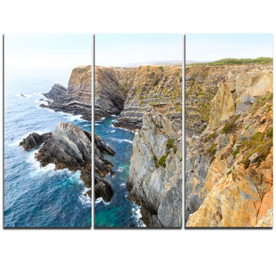 Designart Blue Rocky Bay Portugal Panorama Extra Large Seashore Triptych Canvas Art