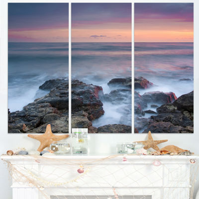 Designart Blue Rocky Sea Beach Sunset Modern Landscape Wall Art Triptych Canvas