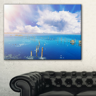 Designart Blue Salt Lake Under Clouds Large Seascape Art Canvas Print