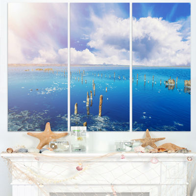 Designart Blue Salt Lake Under Clouds Large Seascape Art Triptych Canvas Print