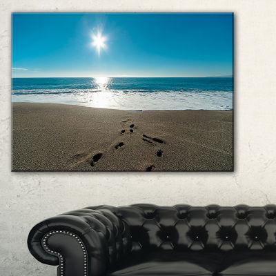 Design Art Blue Sea And Footprints In Sand Large Seascape Art Canvas Print