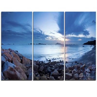 Designart Blue Sea Sunset On Sandy Coastline Seashore Triptych Canvas Art Print