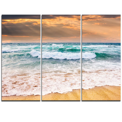 Designart Blue Sea Waves Kissing Sandy Beach Seascape Triptych Canvas Art Print