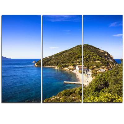 Designart Blue Seashore At Elba Island Extra LargeSeashore Triptych Canvas Art
