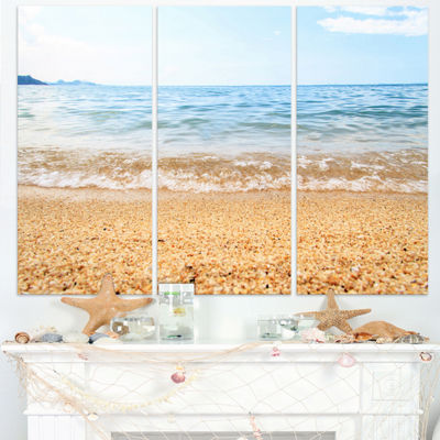 Designart Blue Seashore With Pebble Stones ModernSeascape Triptych Canvas Artwork