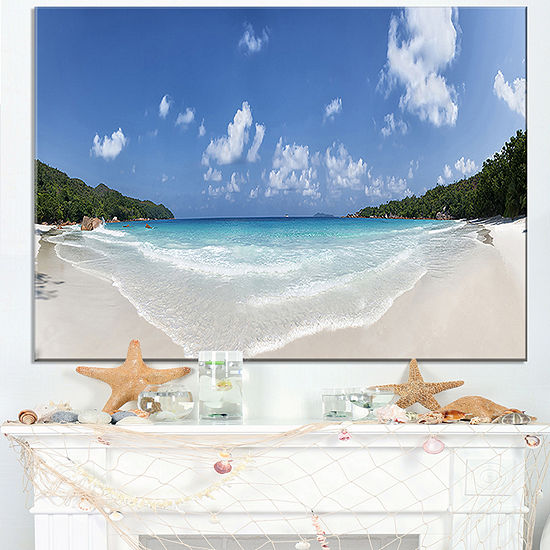 Designart Blue Seychelles Island Panorama Large Seascape Art Canvas Print