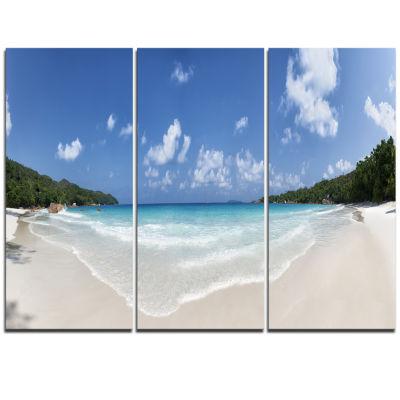 Designart Blue Seychelles Island Panorama Large Seascape Art Triptych Canvas Print